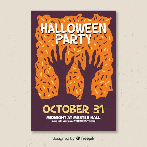 Superbe affiche de fête d'halloween au design plat Vecteur gratuit