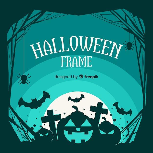 Superbe cadre halloween avec un design plat Vecteur gratuit