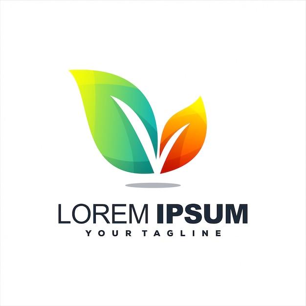 Superbe création de logo en dégradé de feuilles Vecteur Premium