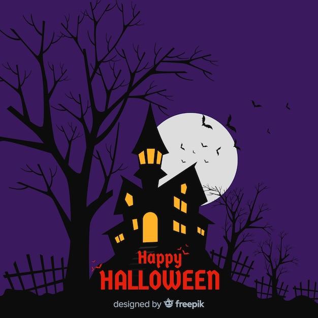 Superbe fond d'halloween avec un design plat Vecteur gratuit