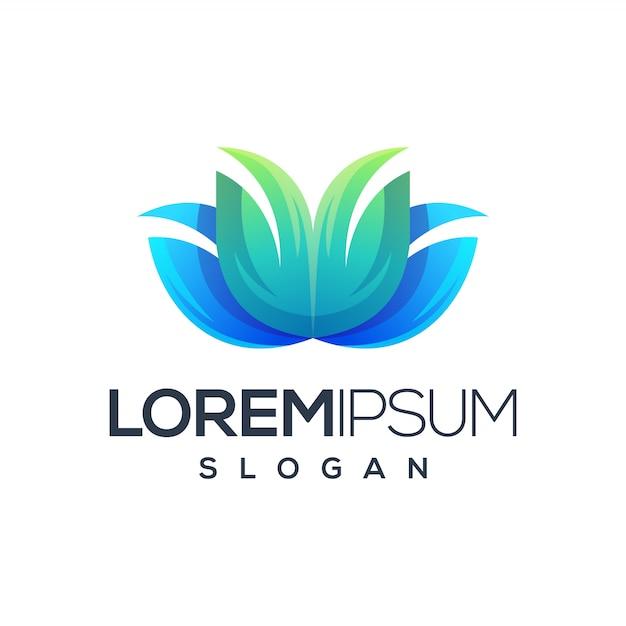 Superbe logo de fleur Vecteur Premium