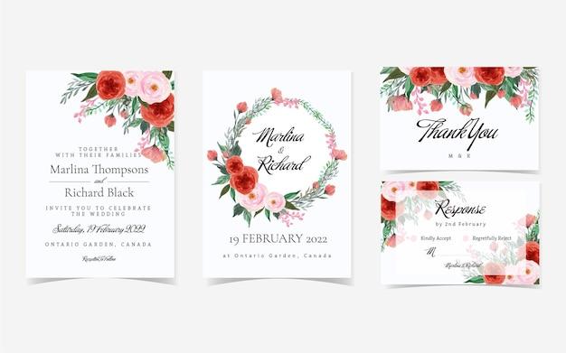 Superbe Suite D'invitation De Mariage Floral Rouge Et Rose Vintage Vecteur Premium