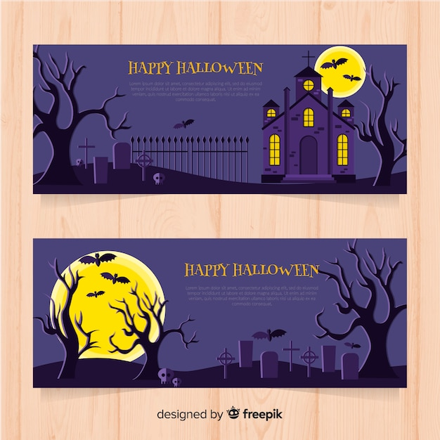 De superbes bannières d'halloween au design plat Vecteur gratuit