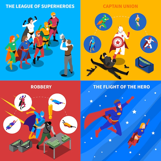 Superhero concept isometric elements set Vecteur gratuit