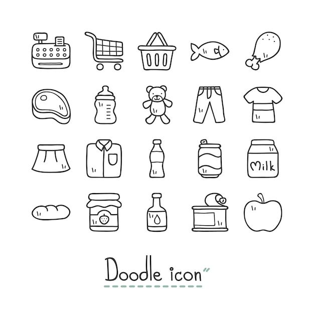 Supermarché. icônes mignonnes doodle. Vecteur Premium