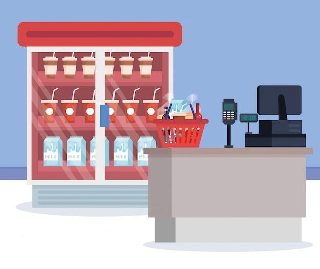 Supermarché réfrigérateur avec produits et point de vente Vecteur gratuit