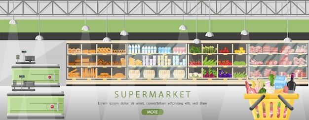 Supermarché se tient avec des produits alimentaires Vecteur Premium