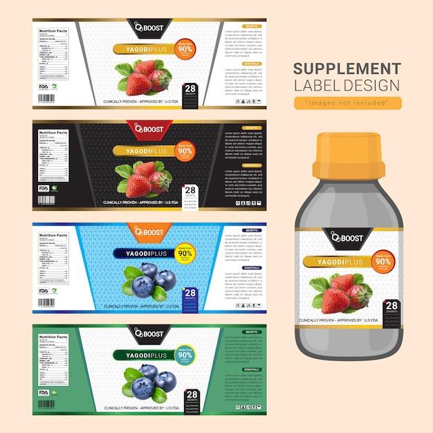 Supplément étiquette design bouteille Vecteur Premium