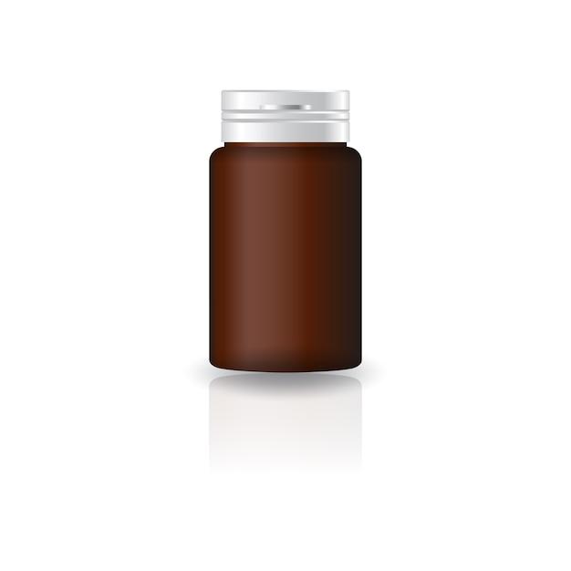 Suppléments de cylindre brun ou flacon de médicament avec couvercle. Vecteur Premium