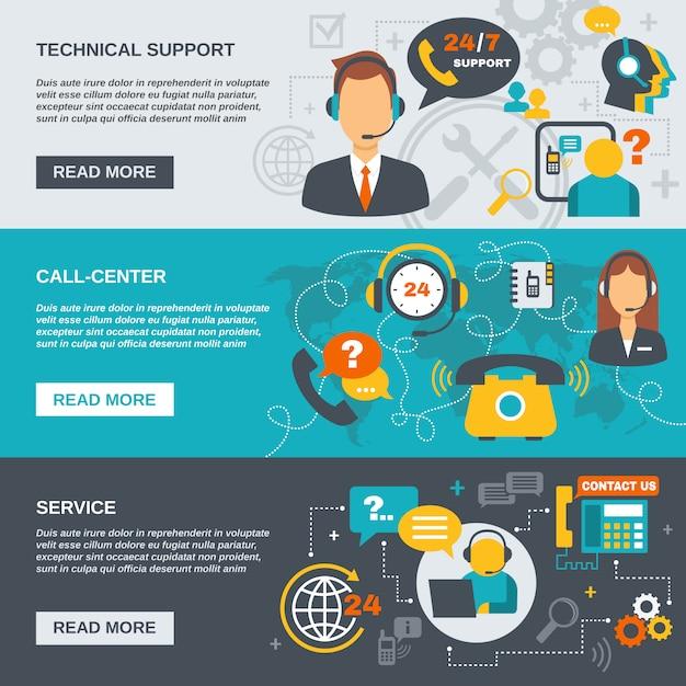 Support call center banner Vecteur Premium