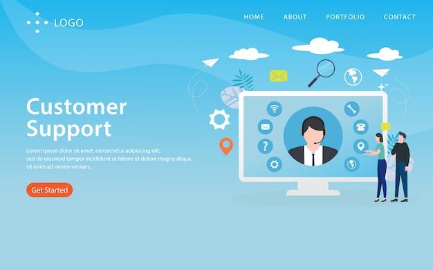 Support client, modèle de site web, en couches, facile à modifier et à personnaliser, concept d'illustration Vecteur Premium