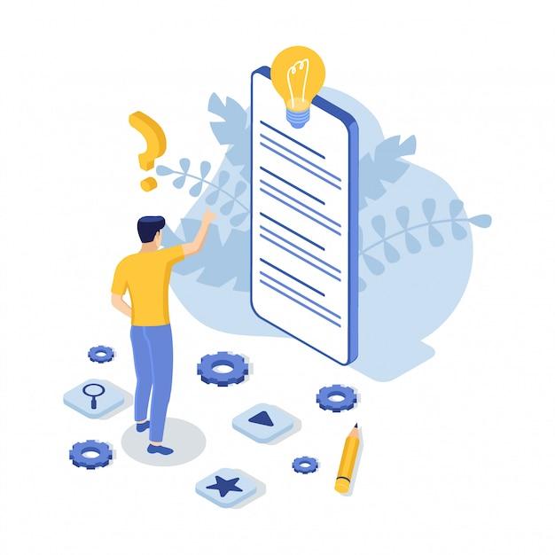 Support Client Avec Téléphone Et Homme. Nous Contacter. Faq. Illustration Isométrique. Vecteur Premium
