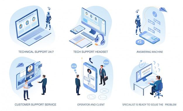 Support technique, ensemble de service client isolé Vecteur Premium