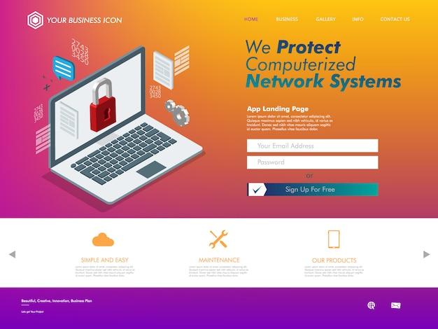 Support technologique pour site web de réseautage internet Vecteur Premium