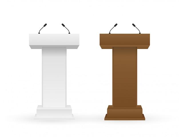 Support Tribune Podium Tribune Blanc Et Marron Avec Microphones. Vecteur Premium
