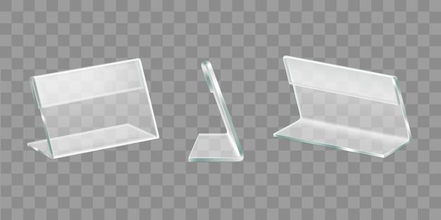 Supports Acryliques De Table Affichage Set Vector Réaliste Vecteur gratuit