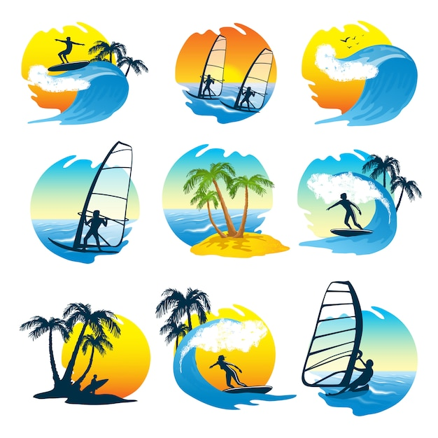Surf Icons Set With People Vecteur gratuit