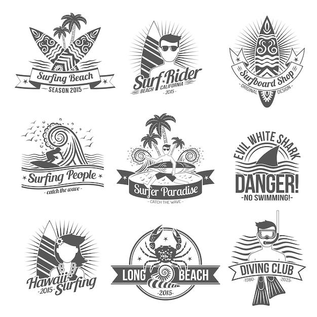 Surf label black Vecteur gratuit