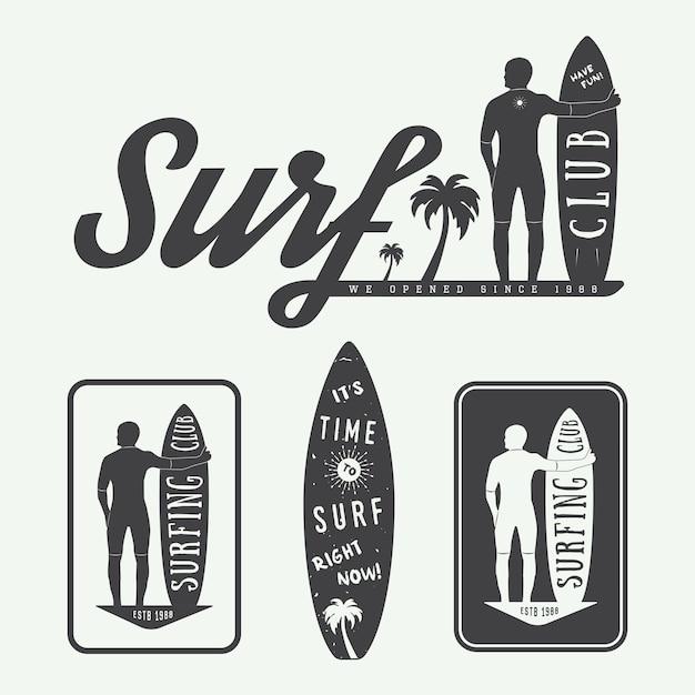 Surf logos, étiquettes, badges Vecteur Premium