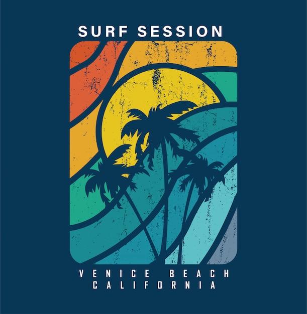 Surf session à venice beach en californie Vecteur Premium