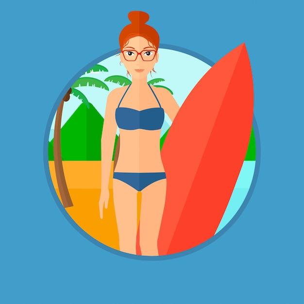 Surf tenant une planche de surf. Vecteur Premium