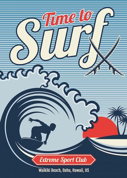 Surf vintage vectoriel hawaii t-shirt vector design vintage Vecteur Premium