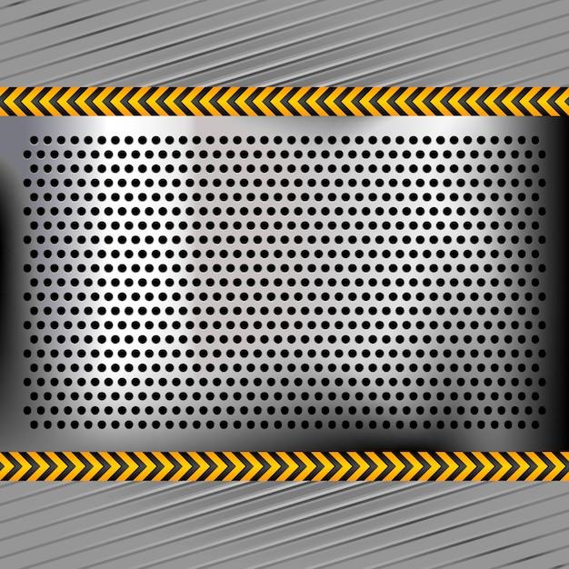 Surface en métal chromé perforé Vecteur Premium