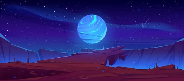 Surface De La Planète Extraterrestre, Paysage Futuriste Avec Lune Rougeoyante Ou Satellite Au-dessus De La Falaise Rocheuse Dans Le Ciel étoilé Sombre Vecteur gratuit