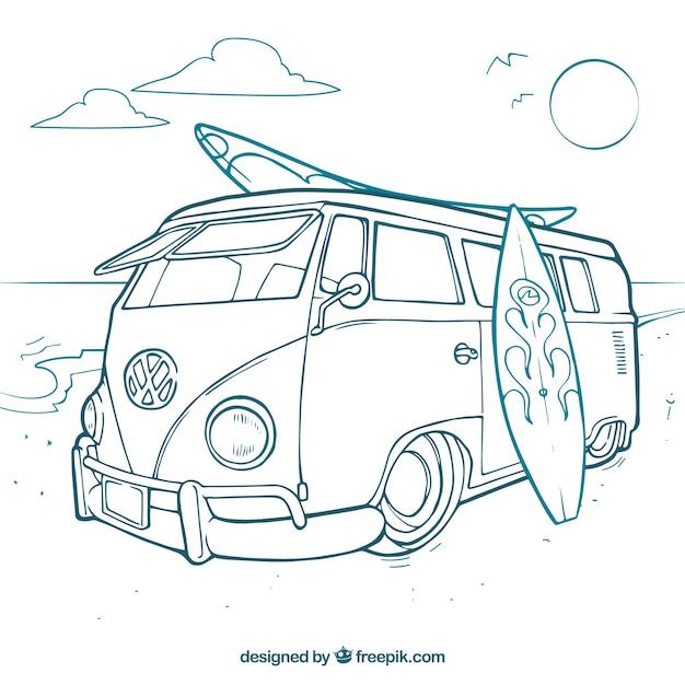 Surfer van Vecteur gratuit