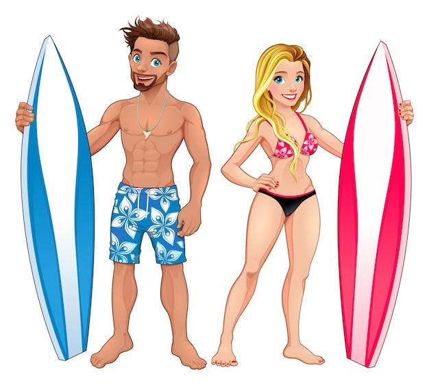 Surfers garçon et fille personnages de dessin animé vecteur isolé Vecteur gratuit
