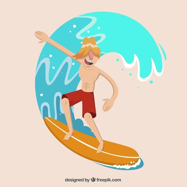Surfeur moderne avec une vague Vecteur gratuit