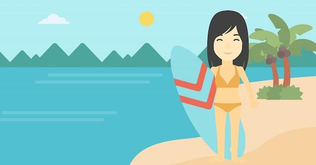 Surfeur tenant illustration vectorielle de planche de surf. Vecteur Premium
