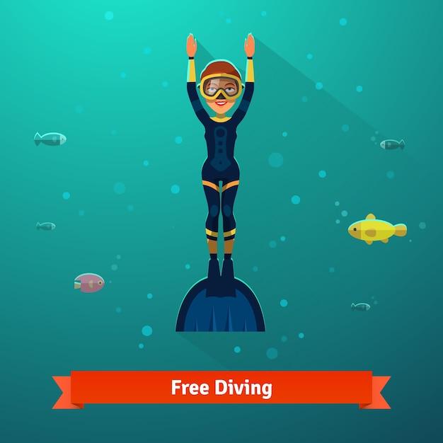 Surplombant une femme de plongée libre en combinaison Vecteur gratuit
