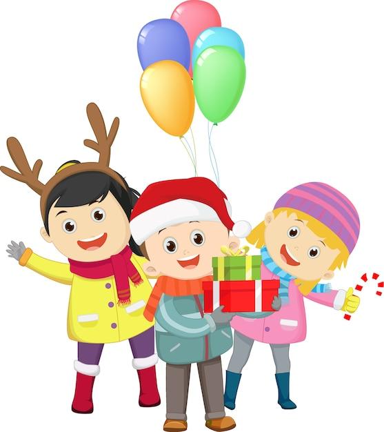 Surprise fête de noël des enfants Vecteur Premium