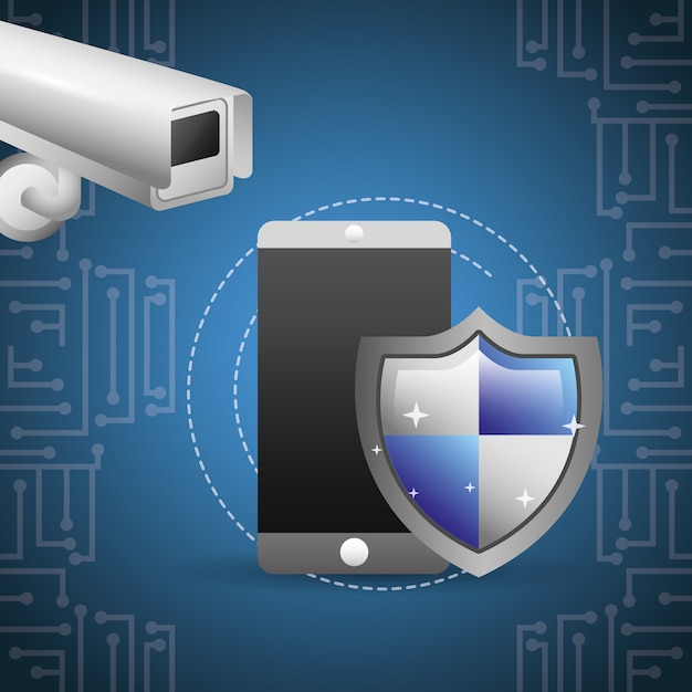 Surveillance de caméra de protection de bouclier de smartphone Vecteur Premium