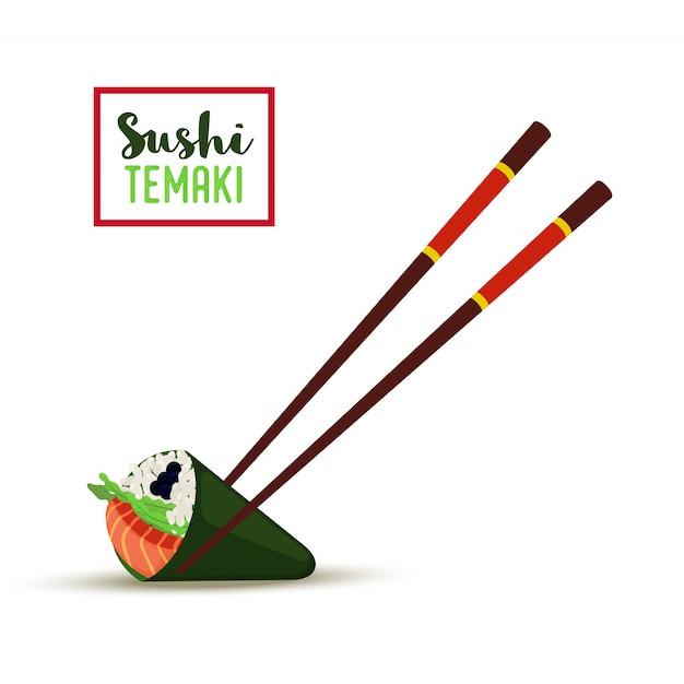 Sushi avec des baguettes. temaki Vecteur Premium