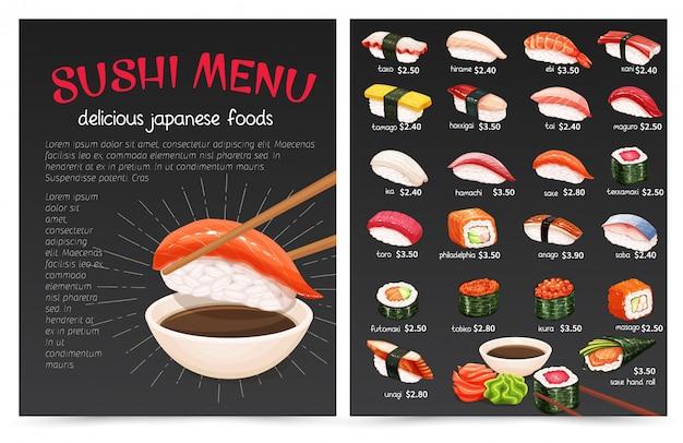 Sushi Bar Munu. Illustration De La Cuisine Japonaise Pour La Boutique De Rouleaux De Sushi. Vecteur Premium