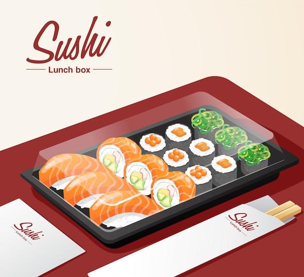 Sushi à Emporter Avec Plateau, Baguettes Et Serviette Sur Table Rouge Vecteur Premium