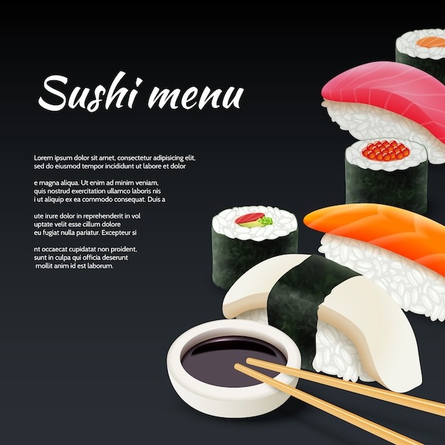 Sushi Sur Fond Noir Vecteur gratuit