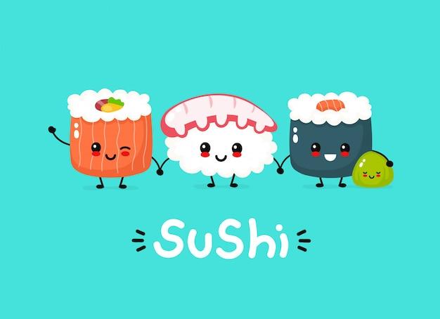 Sushi Heureux Mignon, Rouleau Et Wasabi Vecteur Premium