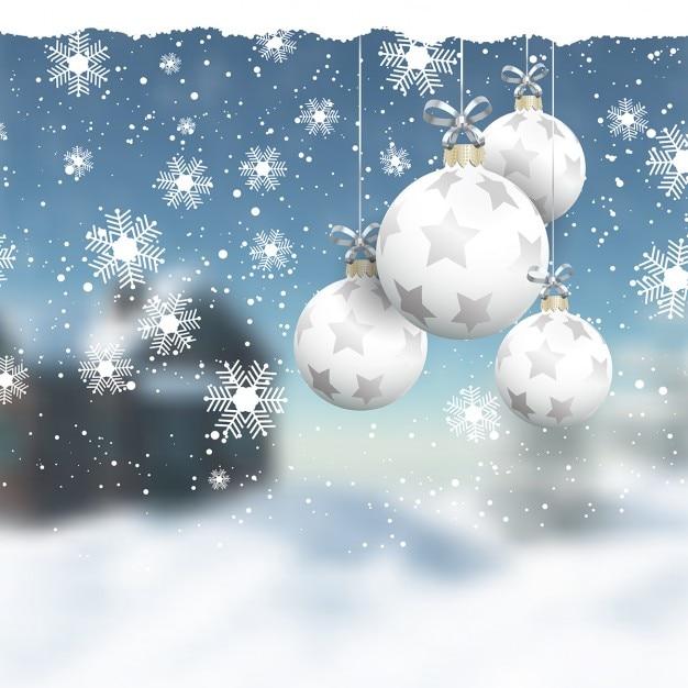 Suspendre boules de no l sur un paysage d 39 hiver defocussed - Paysage de noel gratuit ...