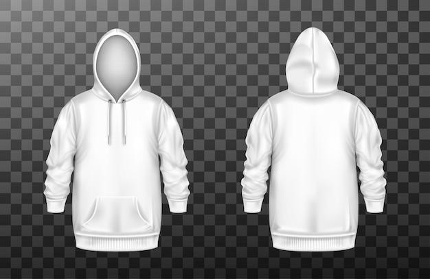 Sweat à Capuche, Sweat-shirt Blanc Sur Le Devant Et Dans Le Dos Vecteur gratuit