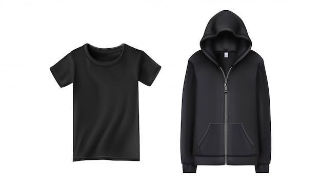 Sweat à Capuche Et T-shirt Sport Noirs. Illustration Sur Fond Blanc. Vecteur Premium