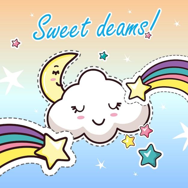 Sweat dreams kawaii cartoon lettrage Vecteur Premium