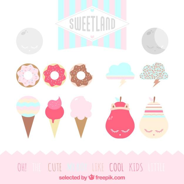 Sweetland décoration Vecteur gratuit