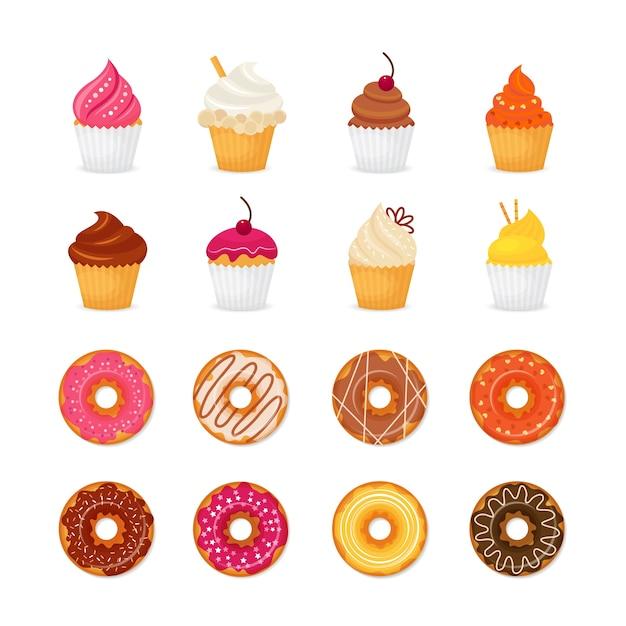 Sweets designs colletion Vecteur Premium
