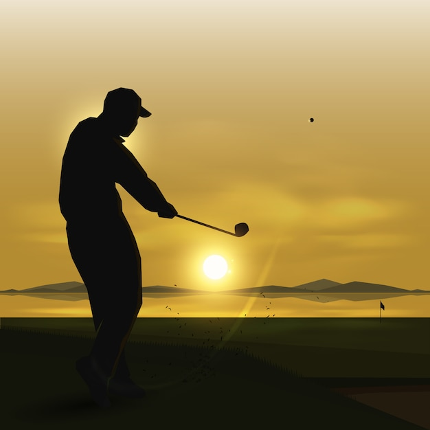 Swing de golfeur de silhouettes Vecteur Premium