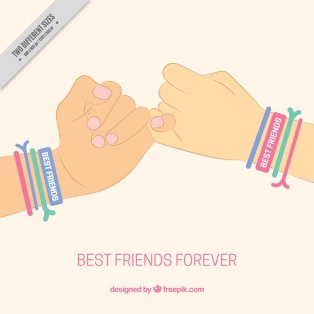 Symbole d'amitié de fond avec les mains et les couleurs bracelets Vecteur gratuit