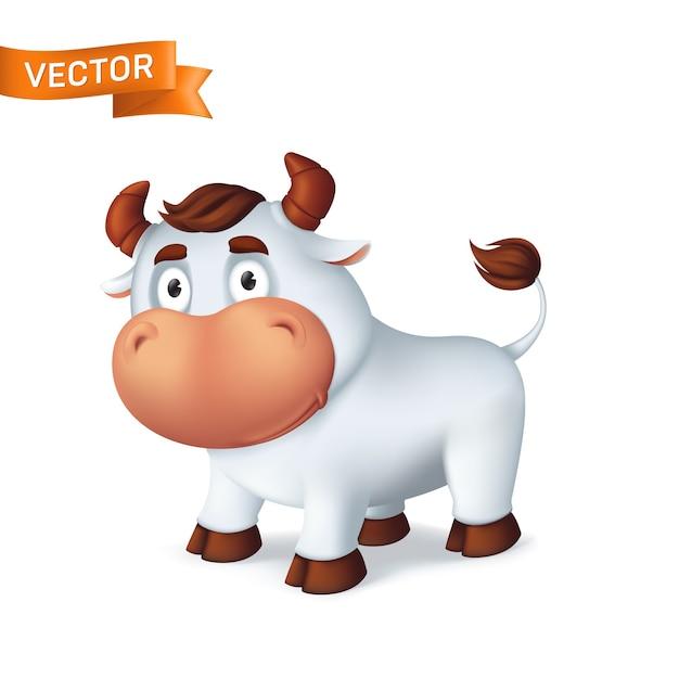 Symbole Animal Drôle De Bœuf Argenté De L'année Dans Le Calendrier Du Zodiaque Chinois. Dessin Animé 3d Du Taureau Souriant Isolé Sur Fond Blanc Vecteur Premium