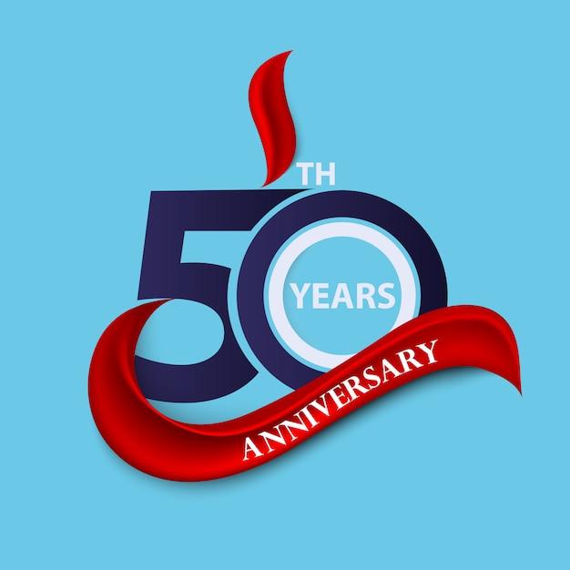 Symbole De Célébration Du 50e Anniversaire Et Logo Avec Ruban Rouge Vecteur Premium